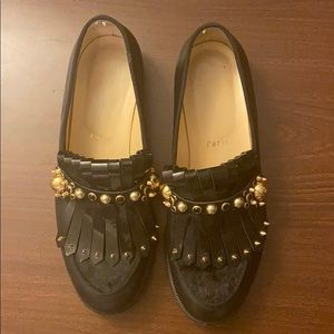 Christian Louboutin black loafers with gold detail